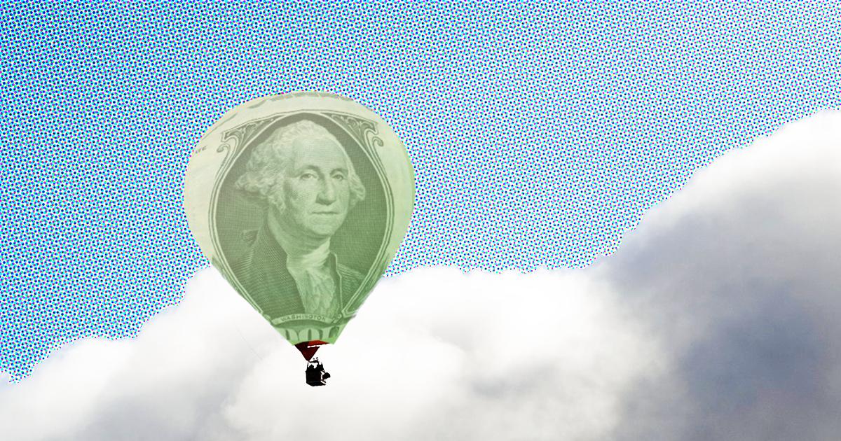 dollar hot air balloon inflation